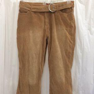 Lazerjeans Size 22 Tan Corduroy with matching belt